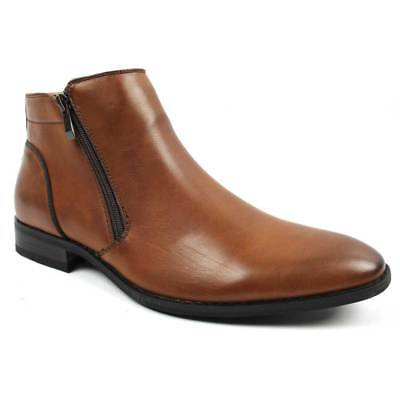 Mens Ankle Dress Boot Slip On Almond Round Toe Zipper Leather Chelsea Tayno Mayo