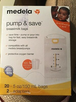 Medela Breastmilk Storage Bags 20 Ct 5 oz Pump & Save Plus 4 Micro Clean Bags