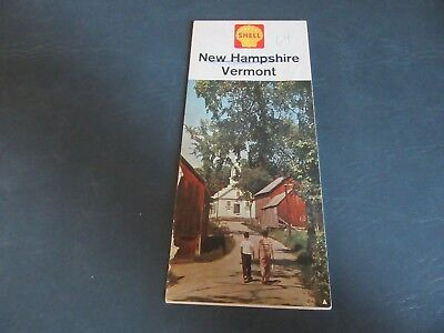 Vintage Road Map 1963 New Hampshire Vermont Shell Gas Oil  Lot 18-1-E-B