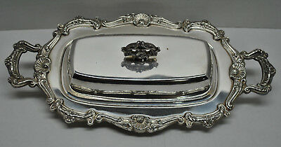 Estate Vintage Henley English Silver Plate Covered Butter Dish with Glass Insert