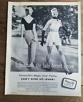 1957 women's permalift magic oval pantie girdle can't ride up vintage fashion ad