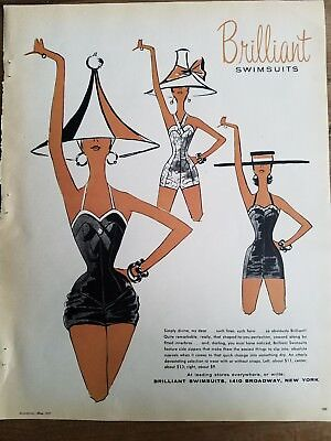 1957 women's Brilliant swimsuits vintage fashion clothing hats ad