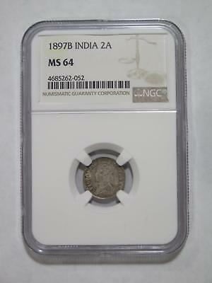 India 1897 B 2 Annas Rainbow Toned Ngc Graded Ms64 World Coin Collection Lot