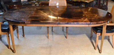 """1950s Aldo Tura Lacquered Goatskin 45"""" Round or 85"""" Oval Dining Room Table"""