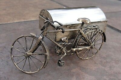 Vintage,hand Made Sterling Silver Bicycle With Sidecar Casket Ash Tray
