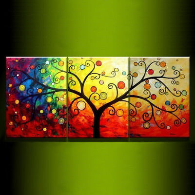 Modern Life Tree Oil Painting 3-Pcs Hand-painted Canvas Art Wall Decor Free Ship