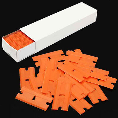 100Pcs Plastic Razor Scraper Blades Double Edge For Window Film Handheld Tool CT