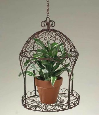 Hanging Rustic Wire Pavilion Platform - Green/Rust