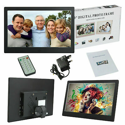 "10"" Excellent Digital Photo Metal Frame LED Picture Audio Video Player + Remote"