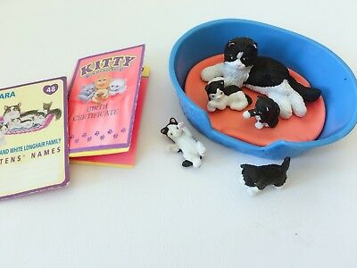 Vintage Kitty In My Pocket UK 48 Kara Longhair Cat Family & Babies with Card Wow