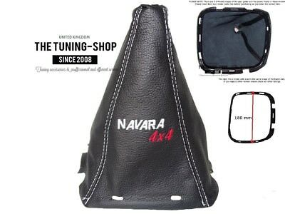"""FITS NISSAN NAVARA D40 GEAR GAITER LEATHER + PLASTIC FRAME """"4x4"""" EMBROIDERY"""
