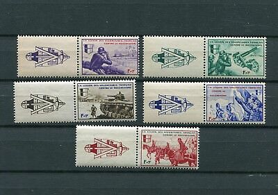 GERMANY 3rd REICH SUPPORT OF VOLUNTEERS FRENCH SS LEGION VI-X WITH TABS LEFT MNH