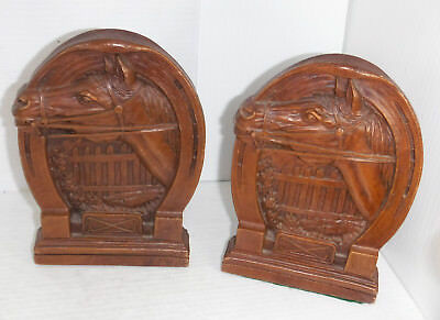 Vintage 1960s Syroco  Horse Horseshoe Orna Wood Book Ends