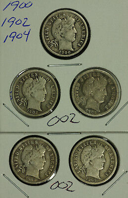 A Mixed Lot of Five (5) Barber Silver Dimes.  Lot # 002