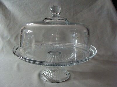 NEW Anchor Hocking Clear Glass Pedestal Cake Stand With Dome Cover