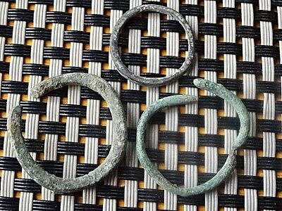 Lot Of 3 Authentic Celtic Bronze Rings-Proto Money 300 Bc Very Rare