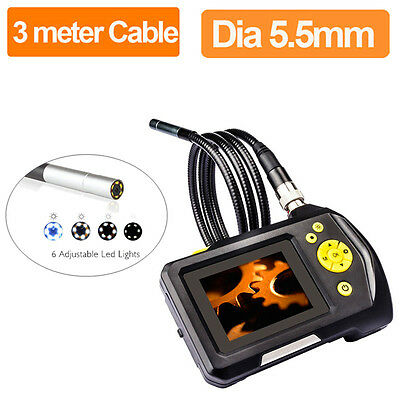 """3M 2.7"""" TFT LCD Monitor Video Inspection Camera Endoscope Borescope 5.5mm 6 LED"""
