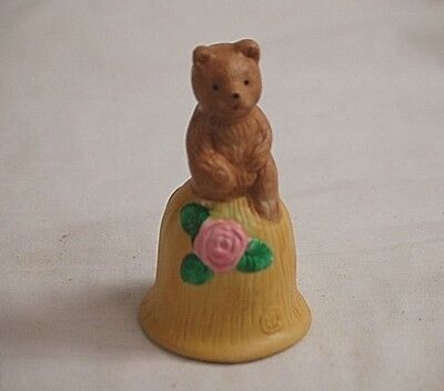 Classic Style Brown Bear on Yellow Bell w Pink Flower Shadow Box Shelf Decor