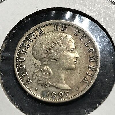1897 Colombia Silver 10 Centavos Lower Mintage 90% Silver Coin