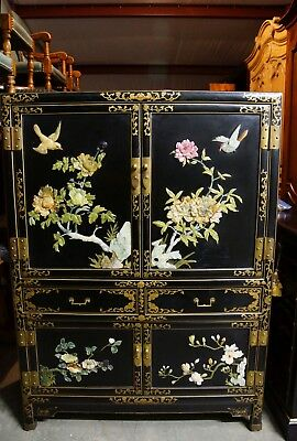 Purchased in Xian China Heavily Carved Jade & Black Lacquer Dry Bar Cabinet