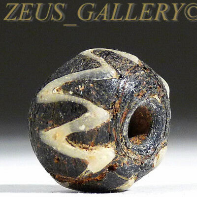 Genuine Ancient Black Glass Round Bead w/White Zig Zag trailings Roman-Byzantine