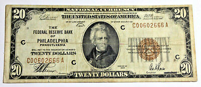 $20 1929 Federal Reserve Bank Note PHILADELPHIA FINE- VERY FINE FR# 1870-C