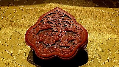 Antique Chinese Red Carved Cinnabar Scalope Shape Box W/2 Scholars Under Tree