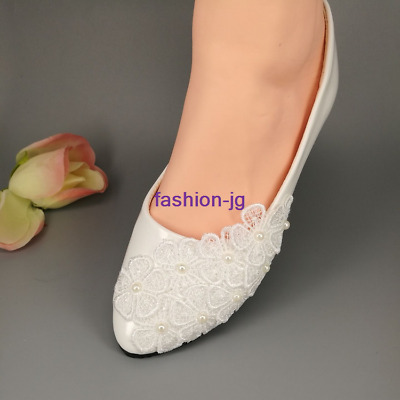 White lace Wedding shoes pearls Bridal shoes flats low high heels shoes big size