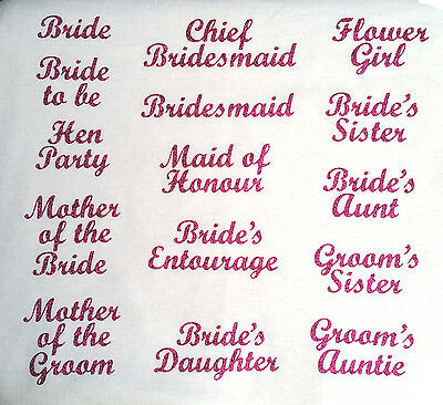 wedding bridesmaid transfer iron on t shirt hen party fuschia pink glitter patch