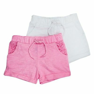 """Bnwt Baby Toddler Girls """"2 Pack""""  Pink White Summer Holiday Shorts Multipack"""