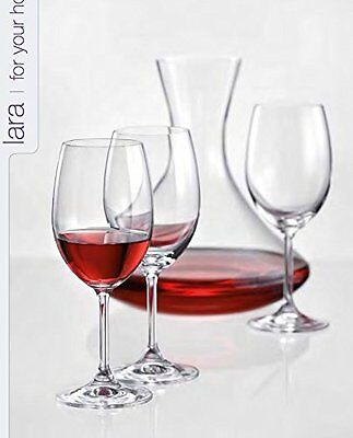 Bohemia Crystal Lara wine cup glass 350ml set of 6 gift boxed + DECANTER 1200ml