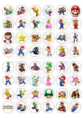 48 Super Mario Bros Wafer / Rice Paper Mini Cupcake Topper Edible Fairy Cake