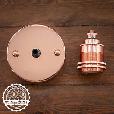 Vintage Light Fittings Set Copper Pendant Lamp Holder E27 B22 6 Variations