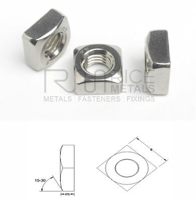 Chamfered Square Nuts A2 & A4 Stainless Steel Metric & Imperial Sizes