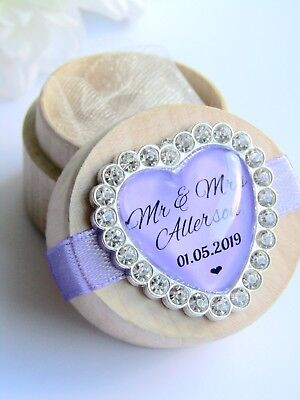 Lilac Purple Personalised Wooden Wedding Ring Box Custom Names & Date Diamanté