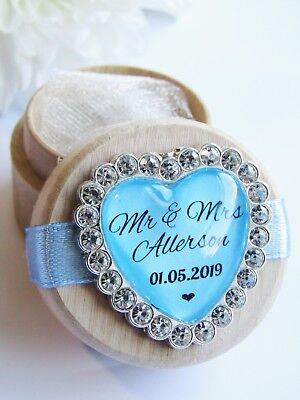 Blue Heart Personalised Wooden Wedding Ring Box Custom Names & Date Diamanté
