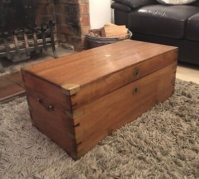 Antique Victorian Military Brass Camphor Wood Campaign Chest Trunk Coffee Table