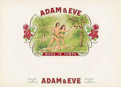 ADAM & EVE - Vintage Inner Cigar Box Label = Embossed Beauty! MINT NOS