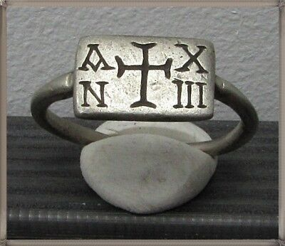 Ancient Silver Byzantine  Ring ** CROSS ** INSCRIPTION AN XIII**