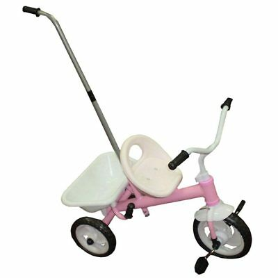 Girls Ride-On Trike With Parent Handle & Carry Tray Girls Pink & White Tricycle