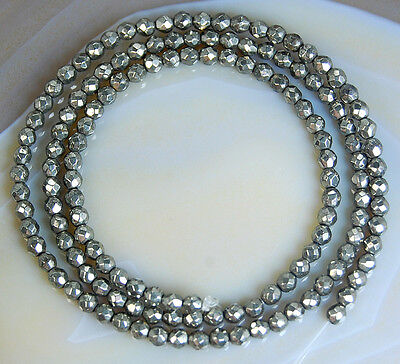 """3mm Faceted Natural Iron Pyrite Gemstone Round Spacer Loose Beads 15.5"""""""