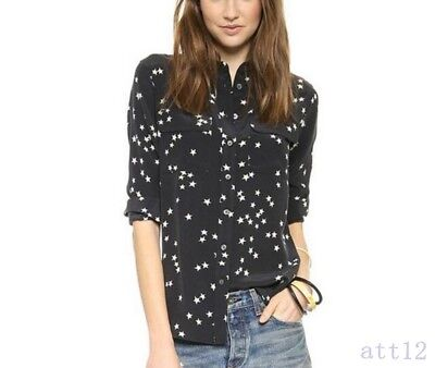 3d00f81172bc9 New Vogue SHIRT Black Star Womens Silk Equipment Casual SLIM SIGNATURE Print