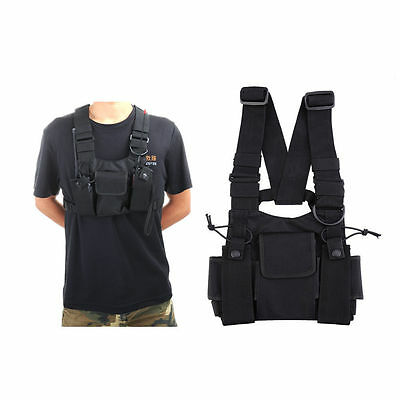 Universal Tactical Radio Carry Vest Case Chest Pocket Pouch For Walkie-Talkie