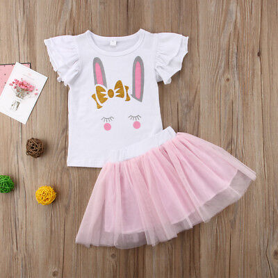 US Stock Toddler Baby Girl Rabbit Print Clothes Top+Short Lace Tutu Dress Outfit