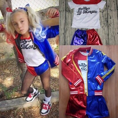 halloween girl cosplay joker Suicide Squad Harley Quinn costume suit 4 set kid