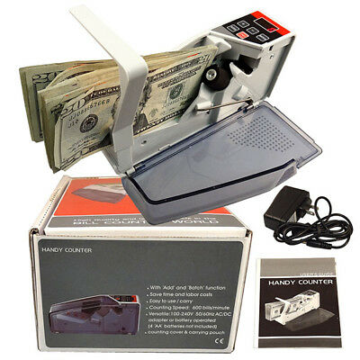 Portable Handy Cash Bill Money Currency Counter Machine Speed 600pcs/min PB4