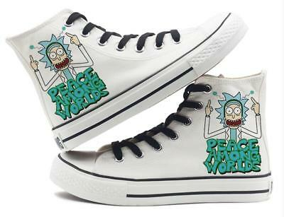 TV Rick and Morty PEACE AMONG WORLDS Canvas Shoes Hand-painted Skate Shoes Pedal