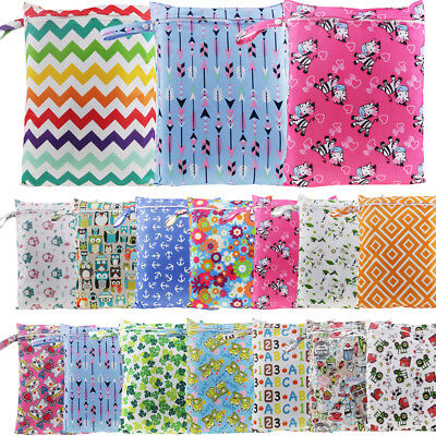 15choices Baby Kids Reusable Print Wet Dry Cloth Zip Waterproof Diaper Nappy Bag