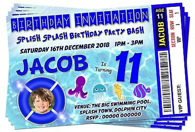 BIRTHDAY PARTY INVITATIONS Boys Swimming Pool Theme Picture Ticket Style