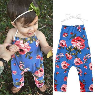 Cute Newborn Baby Kids Girls Flower Romper Jumpsuit Outfits Sunsuit Clothes